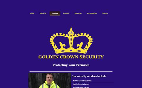 Screenshot of Services Page goldencrownsecurity.com - Security services in Leeds - captured Aug. 26, 2017