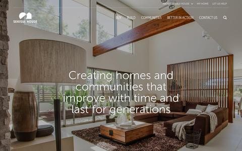 Screenshot of Home Page sekisuihouse.com.au - Community Developer & Home Builder | Sekisui House Australia - captured Oct. 20, 2018