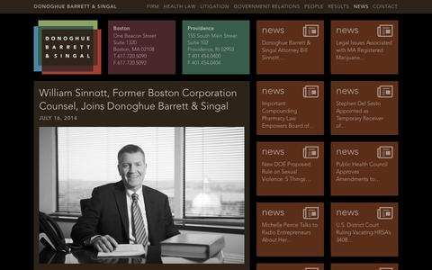 Screenshot of Press Page dbslawfirm.com - William Sinnott, Former Boston Corporation Counsel, Joins Donoghue Barrett & Singal | Donoghue Barrett & Singal - captured Oct. 1, 2014
