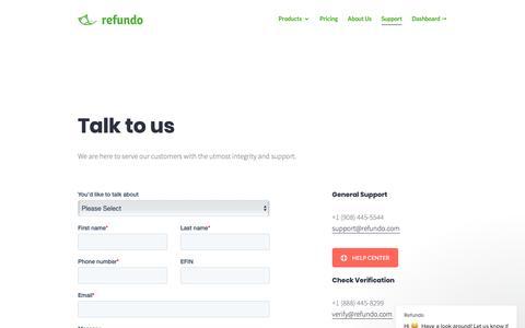 Screenshot of Support Page refundo.com - Refundo says… - captured Dec. 19, 2018