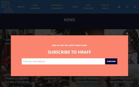 Screenshot of Press Page hraff.org.au - News Archives - Human Rights Arts & Film Festival - captured July 10, 2016