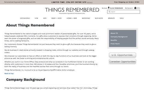Screenshot of Jobs Page thingsremembered.com - Personalized Engraved & Embroidered Gifts from Things Remembered - captured Sept. 22, 2018