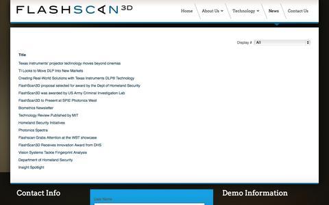 Screenshot of Press Page flashscan3d.com - News - captured Oct. 6, 2014
