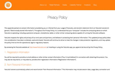 Screenshot of Privacy Page yoolotto.com - Privacy Policy | Yoolotto - captured July 13, 2018