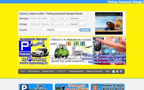 Screenshot of Home Page byparking.es - Parking subterráneo Aeropuerto Barajas low cost - captured Sept. 30, 2014