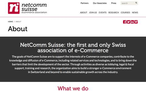 Screenshot of About Page netcommsuisse.ch - NetComm Suisse e-Commerce Association - About NetComm Suisse - captured Jan. 23, 2016