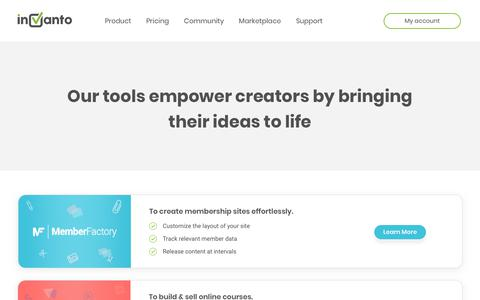 Screenshot of Products Page invanto.com - Invanto: Products for Entrepreneurs! - captured Nov. 30, 2018
