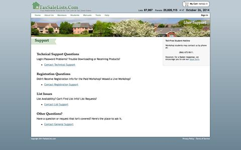 Screenshot of Support Page taxsalelists.com - User Support - TaxSaleLists.com - Lists and Manuals for Tax Lien and Tax Deed Sales Nationwide - captured Oct. 26, 2014