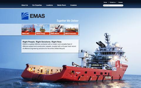 Screenshot of Home Page emas.com - EMAS - Global Offshore Marine Construction Contractor - captured Sept. 19, 2014