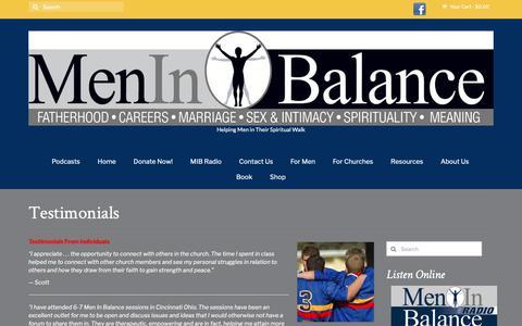 Screenshot of Testimonials Page meninbalance.org - Testimonials – Men in Balance - captured Nov. 6, 2018
