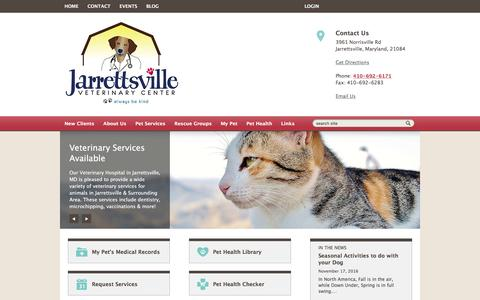 Screenshot of Home Page jarrettsvillevet.com - Jarrettsville Veterinary Center | Jarrettsville, Maryland - captured Nov. 26, 2016