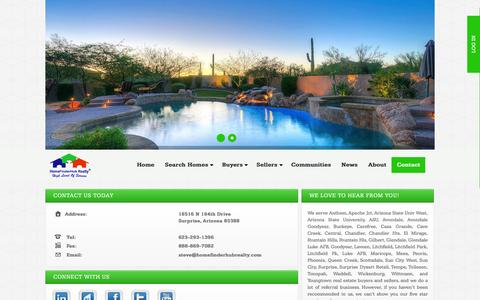 Screenshot of Contact Page homefinderhubrealty.com - Contact Information for HOMEFINDER HUB REALTY - captured Dec. 10, 2015