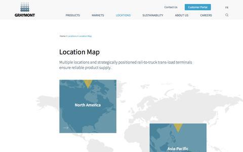 Screenshot of Locations Page graymont.com - Location Map | Graymont - captured Aug. 2, 2019