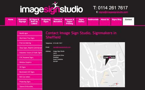 Screenshot of Contact Page imagesignstudio.com - Contact Image Sign Studio, Shop Signs, Custom Business Signs Sheffield - captured July 25, 2018