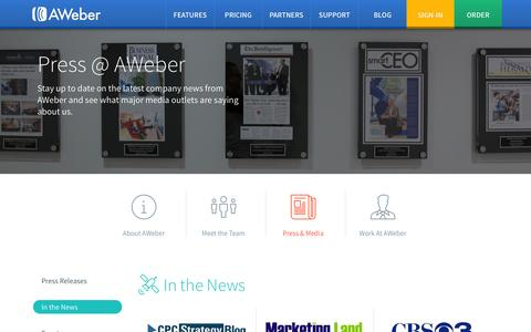 Screenshot of Press Page aweber.com - AWeber Public Relations - Press Releases, Events, Speakers, Brand Assets - captured Oct. 29, 2014
