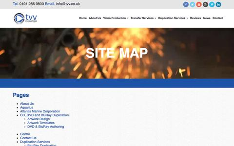Screenshot of Site Map Page tvv.co.uk - Site Map | TVV Productions - captured Dec. 6, 2016