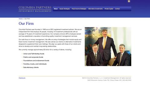 Screenshot of About Page columbiaptrs.com - Columbia Partners, L.L.C. Investment Management Chevy Chase, MD | Columbia Partners, L.L.C. Investment Management - captured Oct. 8, 2014