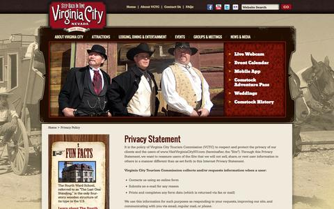 Screenshot of Privacy Page visitvirginiacitynv.com - Privacy Policy - Virginia City, Nevada – Official Site for Hotels, Restaurants, Museums, Attractions, Events, History – Comstock Lode Mining, V&T Railroad, Storey County - captured Oct. 26, 2014