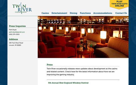 Screenshot of Press Page twinriver.com - Press - Twin River Casino Hotel - captured May 31, 2019