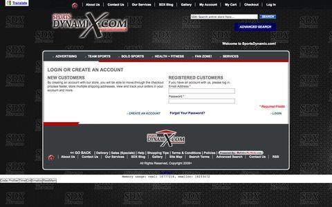 Screenshot of Login Page sportsdynamix.com - Customer Login - captured Oct. 9, 2014