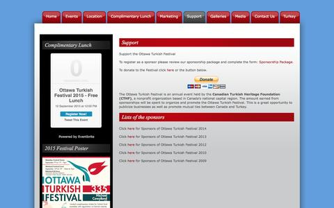 Screenshot of Support Page ottawaturkishfestival.com - Ottawa Turkish Festival -   Support - captured May 21, 2016