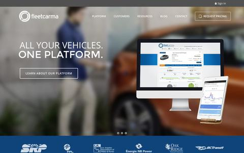 Screenshot of Home Page fleetcarma.com - The Connected Car Platform For Electric Vehicles | FleetCarma - captured Jan. 8, 2016