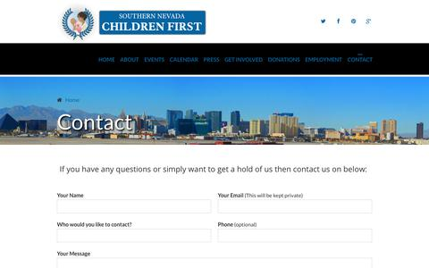Screenshot of Contact Page childrenfirst-nv.org - Contact | Southern Nevada Children First - captured Nov. 16, 2018