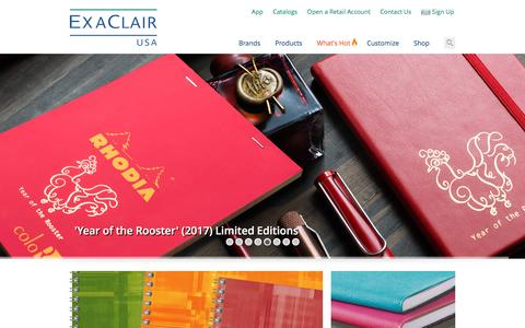 Screenshot of Home Page exaclair.com - Exaclair, Inc. | Official Site | Rhodia, Clairefontaine, Quo Vadis, Exacompta, J. Herbin, G. Lalo, Brause, Decopatch, Maildor, Avenue Mandarine, Life Noted, ME Journal - captured Jan. 31, 2017