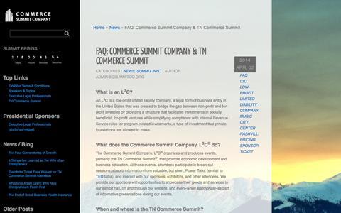 Screenshot of FAQ Page csummitco.org - FAQ: Commerce Summit Company & TN Commerce Summit - captured Oct. 2, 2014