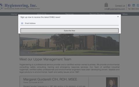 Screenshot of Team Page hygieneering.com - Hygieneering, Inc. | Meet the Management Team - captured Sept. 20, 2017