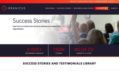 Screenshot of Testimonials Page granicus.com - Success Stories- Granicus - captured Dec. 16, 2017