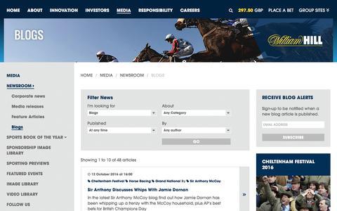 Screenshot of williamhillplc.com - William Hill PLC: Blogs                 - Newsroom                 - Media - captured Oct. 22, 2016