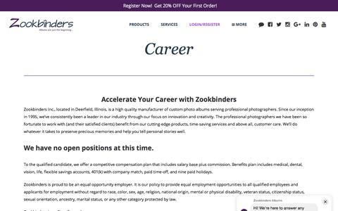 Screenshot of Jobs Page zookbinders.com - Custom Photo Albums | Accelerate Business | Career - Zookbinders - captured July 20, 2019
