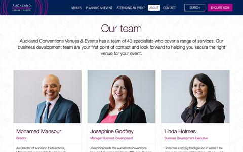Screenshot of Team Page aucklandconventions.co.nz - Contacts at Auckland Conventions - captured Feb. 6, 2016