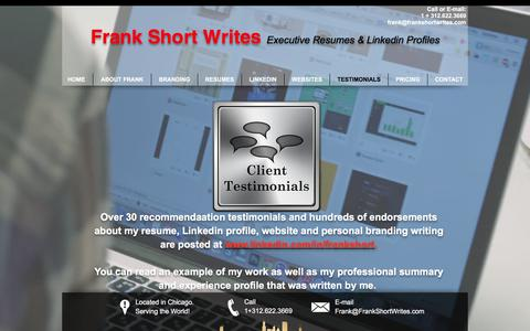 Screenshot of Testimonials Page frankshortwrites.com - 30 Testimonials on Linkedin ... - captured June 6, 2017