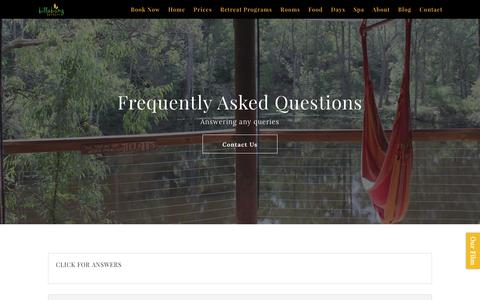 Screenshot of FAQ Page billabongretreat.com.au - FAQ's - Billabong Retreat Sydney - captured June 1, 2017