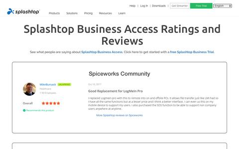 Screenshot of Testimonials Page splashtop.com - Splashtop Business Access Ratings and Reviews - captured Jan. 3, 2020