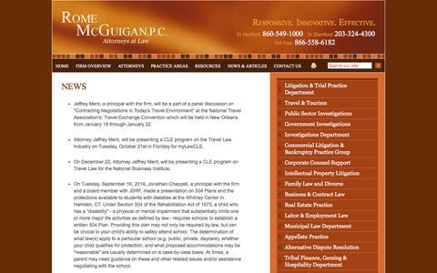 Screenshot of Press Page rms-law.com - News | Rome McGuigan, P.C. | Hartford Connecticut - captured Oct. 7, 2014