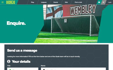 Screenshot of Contact Page goalsfootball.co.uk - Enquire | Goals - captured July 1, 2017