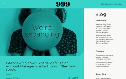 Screenshot of Blog 999design.com - Blog - captured Aug. 17, 2016