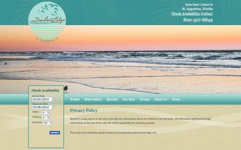 Screenshot of Privacy Page beacherslodge.com - Privacy Policy - Beacher's Lodge - captured Oct. 5, 2014