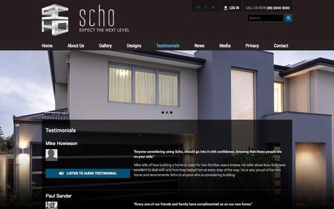 Screenshot of Testimonials Page schohomes.com.au - Testimonials | SCHO Homes - captured Oct. 4, 2014