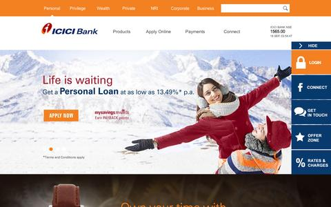 Screenshot of Home Page icicibank.com - Personal Banking Services | Online Banking in India | Corporate Banking | Business Banking | NRI Banking - captured Sept. 19, 2014