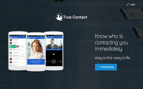 Screenshot of Home Page truecontact.me - True Contact | The Real Social Mobilizer. - captured Oct. 9, 2014