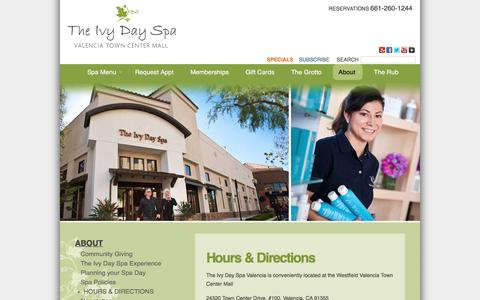 Screenshot of Hours Page theivydayspa.com - Day Spa Hours & Directions � Make an Appointment to Relax � Valencia, California - captured Jan. 11, 2016