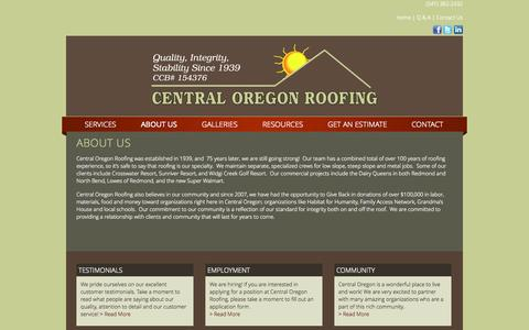 Screenshot of About Page centralorroofing.com - About Us - captured Oct. 2, 2014
