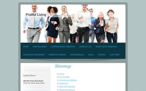 Screenshot of Site Map Page fruitfullivingnow.com - Fruitful Living - Home - captured Feb. 10, 2016