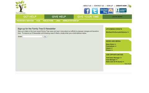 Screenshot of Signup Page thefamilytree.org - Sign-up for the Family Tree E-Newsletter - captured Oct. 5, 2014