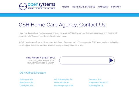 Screenshot of Contact Page opensystemshealthcare.com - Home Care Agency Contact| Open Systems Healthcare - captured Jan. 12, 2016