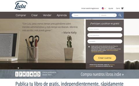 Screenshot of Home Page lulu.com - Publica tu libro independientemente de gratis en línea en Lulu.com - captured May 13, 2017